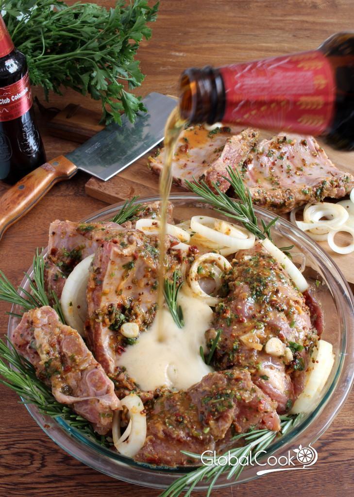 Ребра свиные в духовке маринованные в пиве