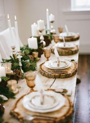 Деревянные спилы в декоре стола