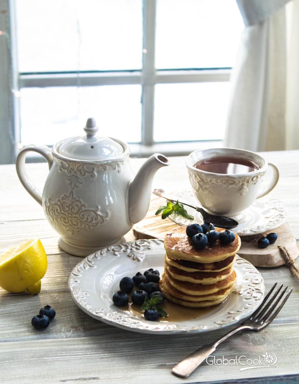 Открытка, картинки кофе и чай за столом с десертом